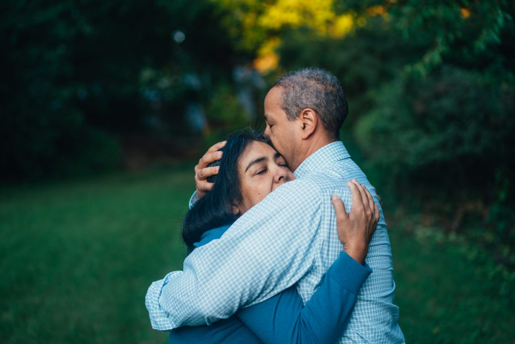 Two people embracing