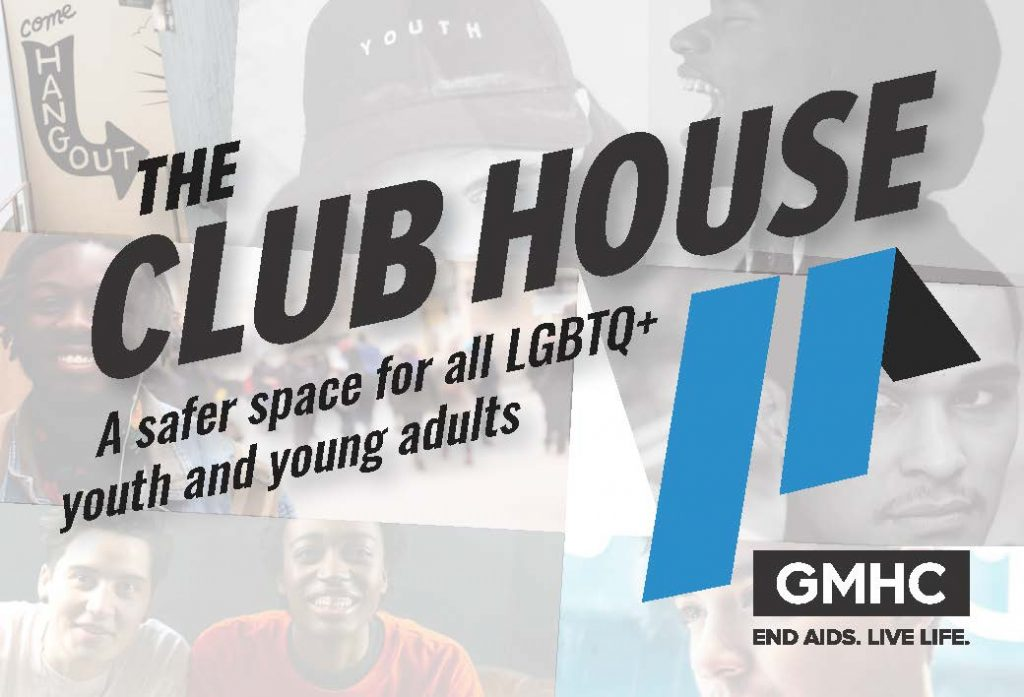 Clubhouse Flyer - a safer space for all LGBTQ+ youth and young adults